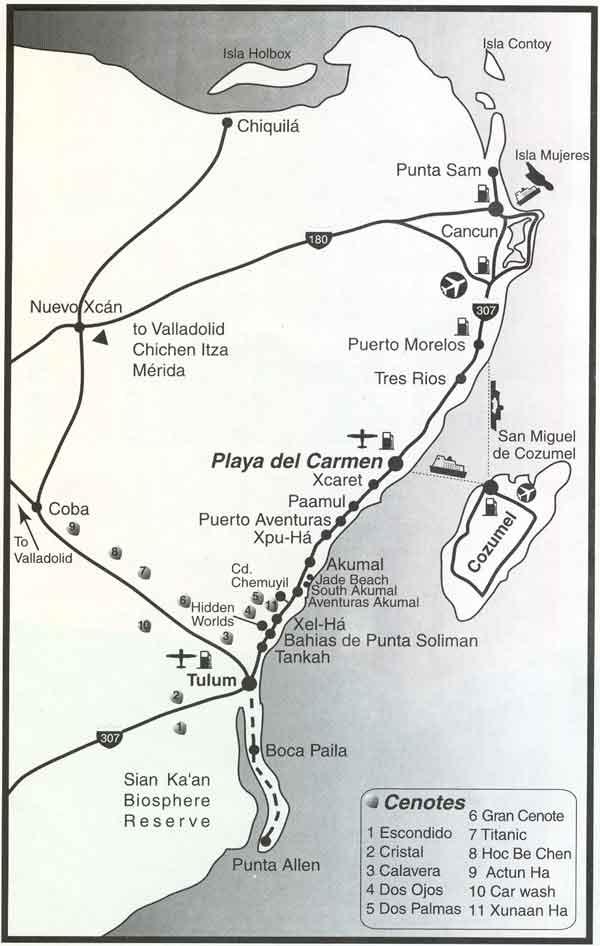 Map of riviera maya and playa del carmen