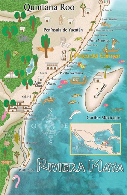 Maps of Playa Del Carmen and Riviera maya Cancun Riviera Maya Map on